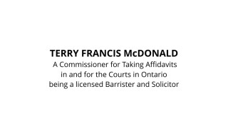 Commissioner for Oaths for Ontario Barrister and Solicitor Stamp