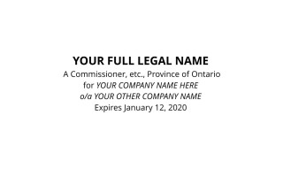 Commissioner for Oaths for Ontario Company Specific Stamp