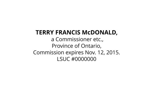 Commissioner for Oaths for Ontario Stamp