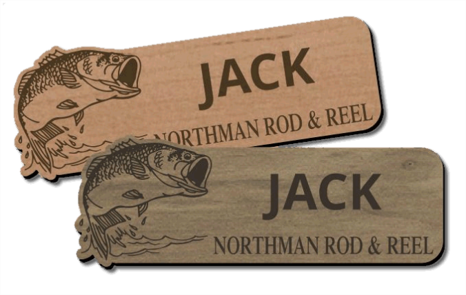 Completely new Wood Name Tags and Badges - Custom Laser Engraved IG83