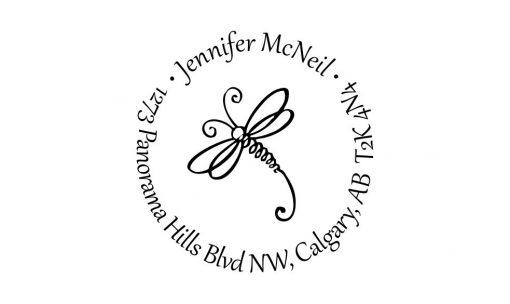 Dragonfly Return Address Rubber Stamp