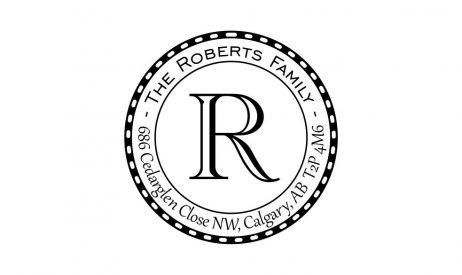 Monogram Return Address Rubber Stamp