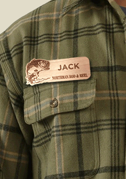 Wood Name Tags and Badges - Custom Laser Engraved