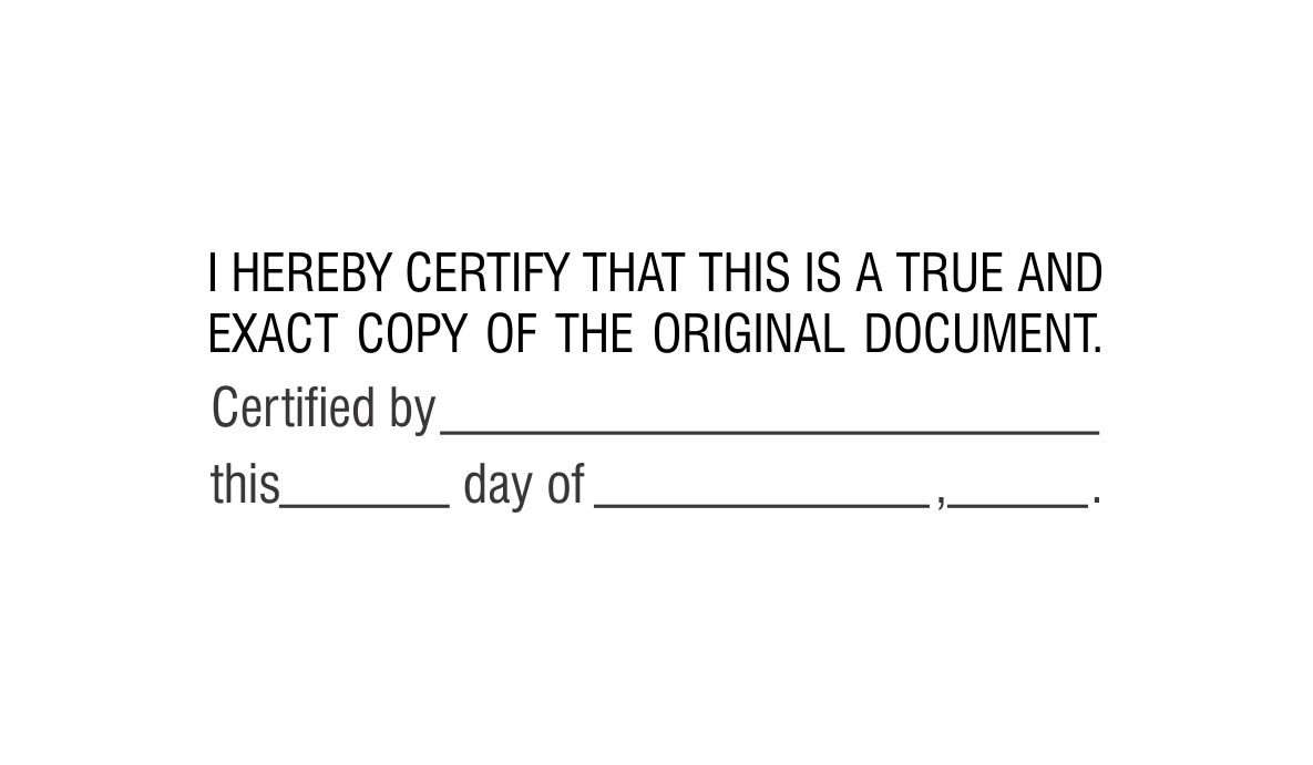 Certified True Exact Copy Stamp