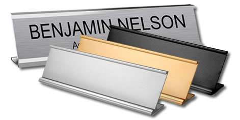 Engraved Name Plates With Traditional Desk Holders