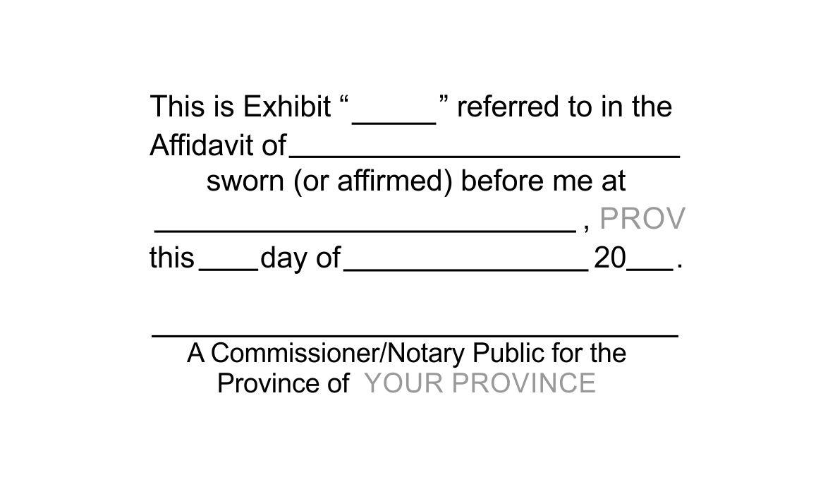 Commissioner Notary Exhibit Stamp