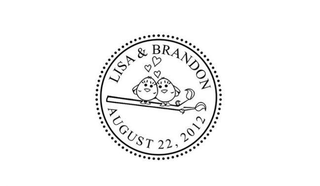 Love Birds Wedding Stamp