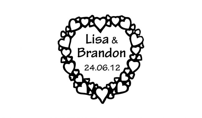 Heart Wreath Wedding Stamp