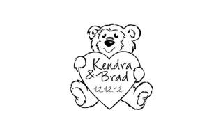 Bear + Heart Wedding Stamp