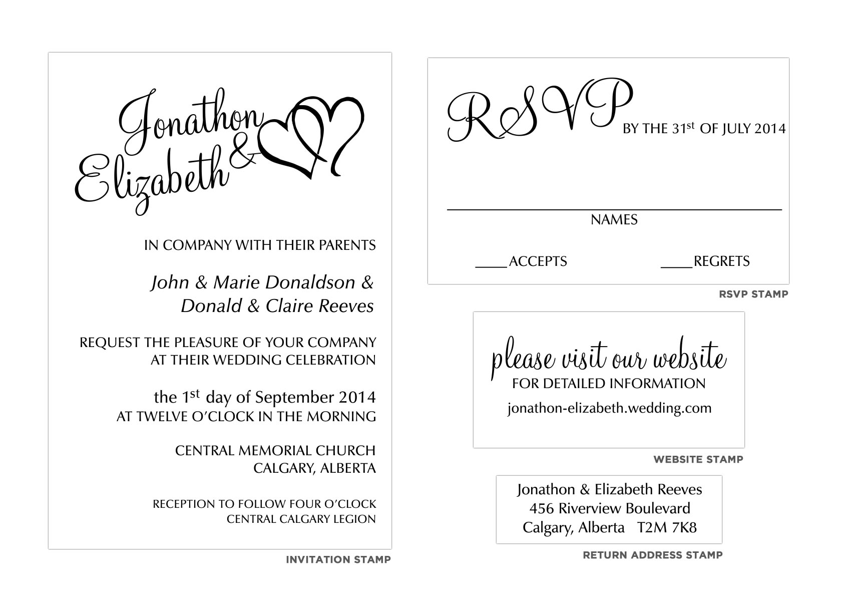 Calligraphy wedding invitation stamp set for Definition of rsvp in invitations