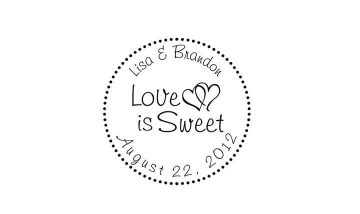 18b42f0614865 Love is Sweet Wedding Stamp