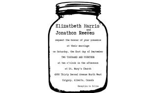 Mason Jar Wedding Invitation Rubber Stamp