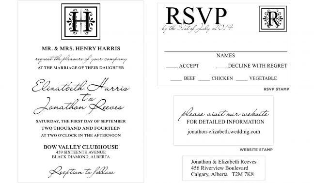 Monogram Wedding Invitation Stamp Set