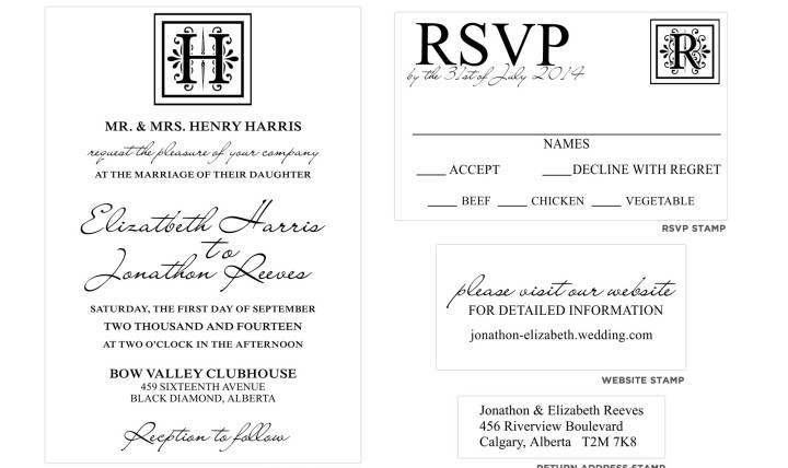 Wedding Invite Stamp: Monogram Wedding Invitation Stamp Set