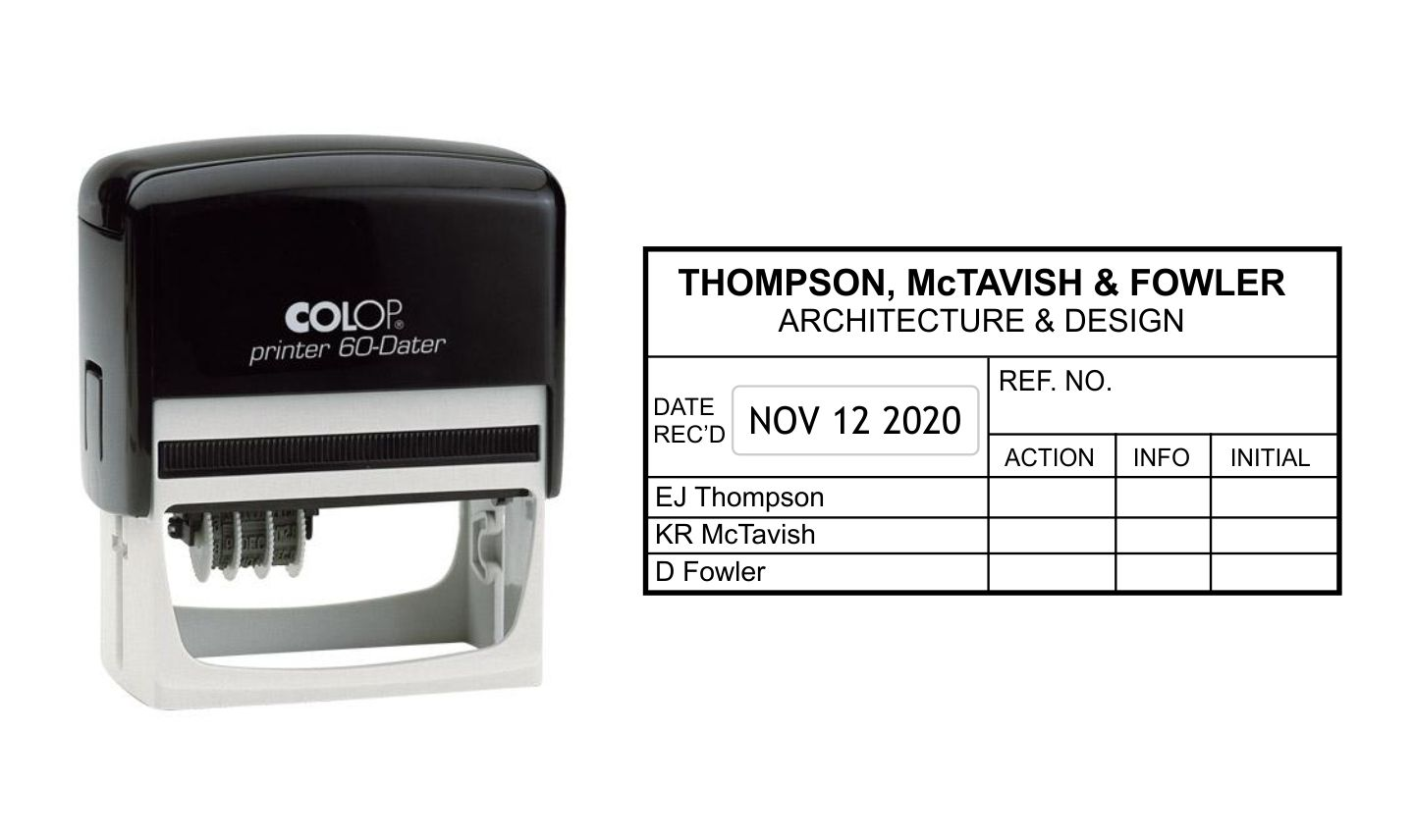 Colop Printer 60 Left Self Inking Date Stamp