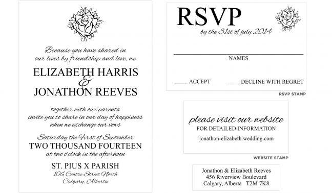 Rose Wedding Invitation Stamp Set