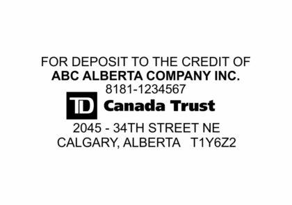 TD Canada Trust Bank Deposit Stamp
