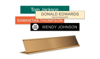 1x8 inch Rose Gold Desk frame with Engraved Plastic Plate