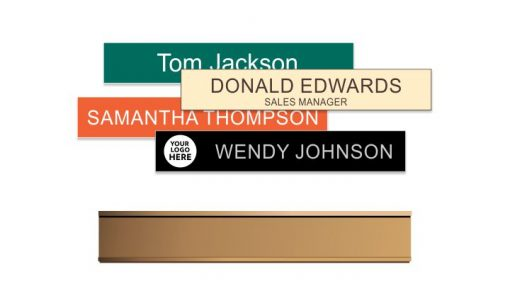 1x8 inch Rose Gold Traditional Aluminium Wall Frame with Engraved Plastic Name Plate