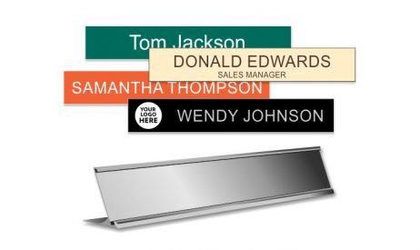 1x8 inch Silver Desk Frame with Engraved Plastic Plate