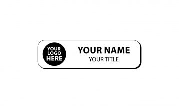 2 3/4 x 3/4 inch Engraved Plastic Name Tag with Round Corners