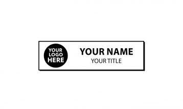 2 3/4 x 3/4 inch Engraved Plastic Name Tag Beveled Edge