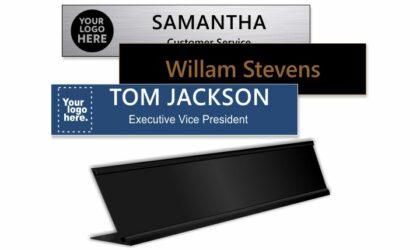 2x10 inch Matte Black Desk Holder with Engraved Plastic Plate