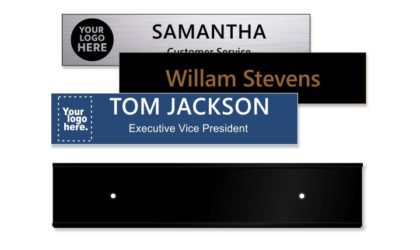 2x10 inch Matte Black Wall Holder with Engraved Plastic Plate