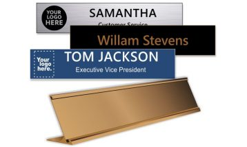 2x10 inch Rose Gold Desk Holder with Engraved Plastic Name Plate