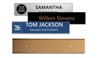 2x10 inch Rose Gold Wall Holder with Engraved Plastic Plate