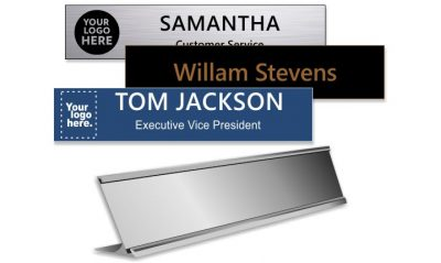 2x10 inch Silver Desk Holder with Engraved Plastic Plate