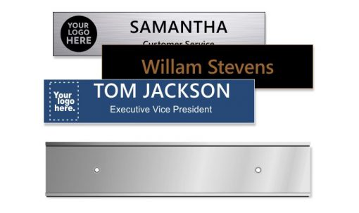 2x10 inch Silver Wall Frame with Engraved Plastic Plate