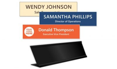 2x8 inch Desk Frame with Engraved Plastic Name Plate
