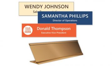 2x8 inch Gold Desk with Engraved Plastic Name Plate
