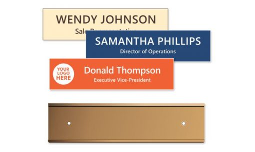 2x8 inch Rose Gold Wall Holder with Engraved Plastic Plate