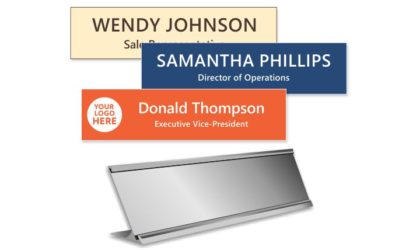 2x8 inch Silver Desk Frame with Engraved Plastic Plate