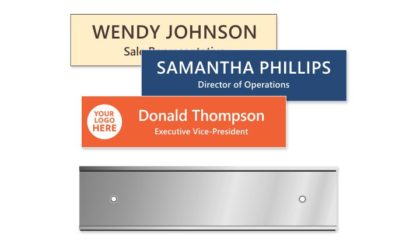 2x8 inch Silver Wall Holder with Engraved Plastic Plate