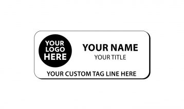 3 x 1 1/4 inch Engraved Plastic Name Tag with Round Corners