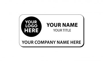 3 x 1 1/2 inch Engraved Plastic Name Tag with Round Corners