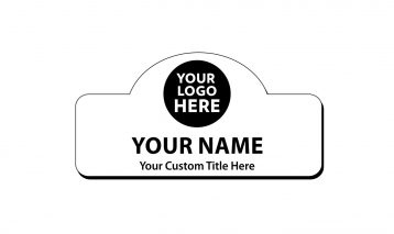 3 x 1 1/2 Engraved Plastic Name Tag Round Top