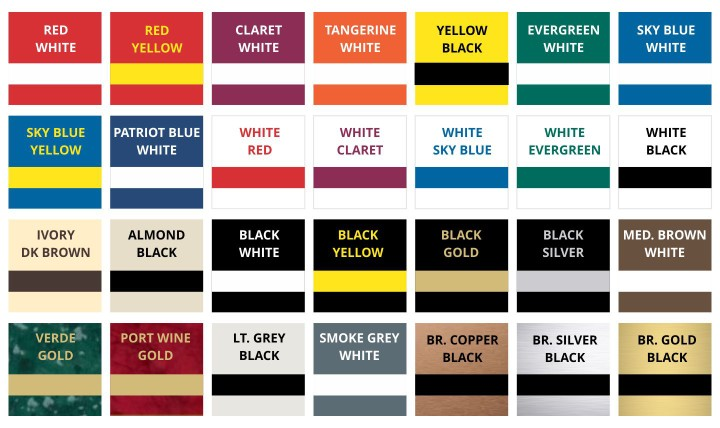 Standard Engraving Color Combinations