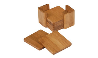 3 3/4 x 3 3/4 Bamboo Square 6 Coaster Set with Holder