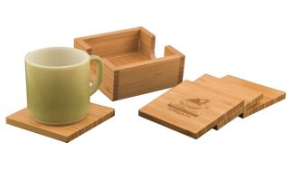 4 x 4 Bamboo 4 Coaster Set with Holder