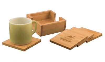 4 x 4 Bamboo 4 Coaster Set with Holder