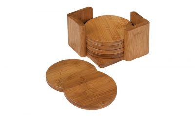 Bamboo Round 6 Coaster Set with Holder