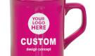 Laser Engraved 10oz Ceramic Coffee Mug Ribbon Pink