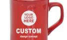 Laser Engraved 10oz Ceramic Coffee Mug Ribbon Red