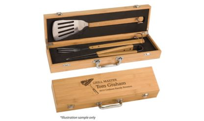 3 Piece Bamboo BBQ Set in Bamboo Case