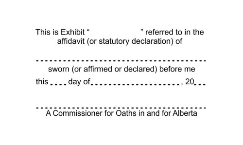 Alberta Commissioner for Oaths Exhibit Stamp