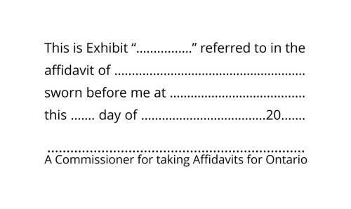 Commissioner for Oaths for Ontario Exhibit Stamp